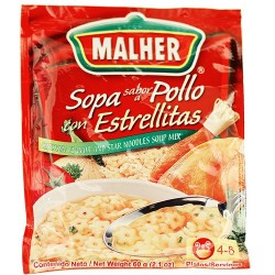 Chicken Flavor and Star Noodle Soup Mix Malher 2.1 Ounces